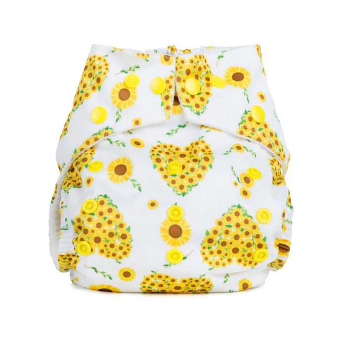 Birth to Potty Reusable Cloth Nappy - Sunflowers - Baba & Boo