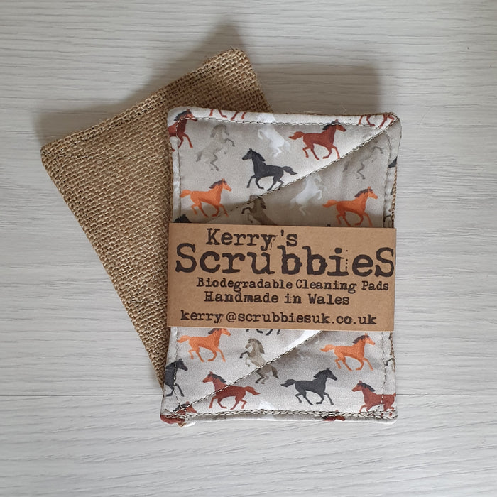 Scrubbies Washing Up Pads x2 Pack - Horses