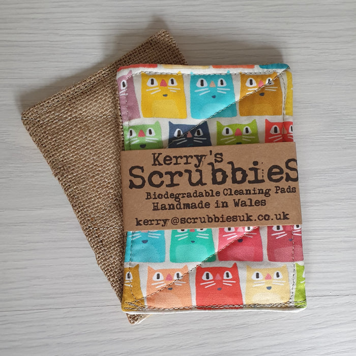 Scrubbies Washing Up Pads x2 Pack - Cats