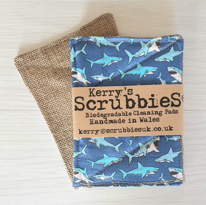 Scrubbies Washing Up Pads x2 Pack - Sharks