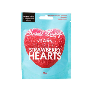 Sweet Lounge Vegan Fizzy Strawberry Hearts 65g