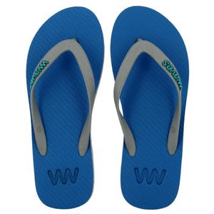 Blue Grey Waves Flip Flops Natural Rubber