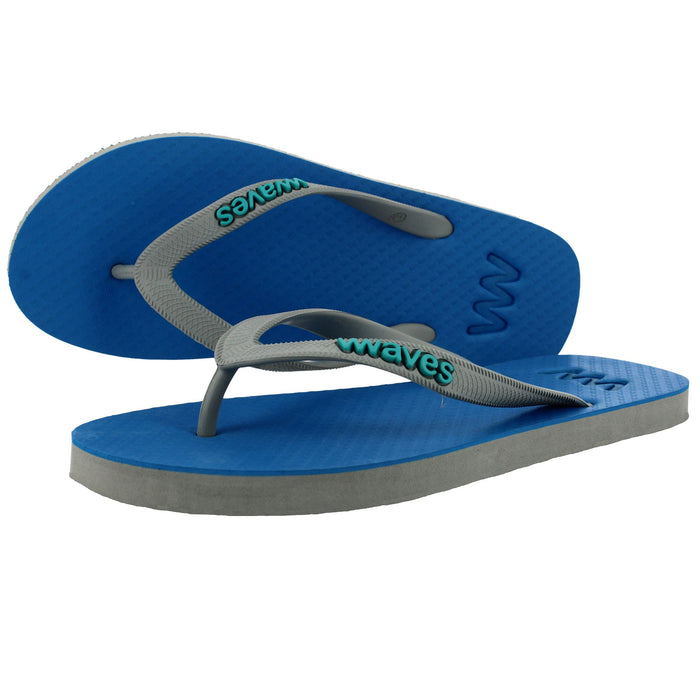 Plastic Free Flip Flops Blue/Grey for Men - Waves UK