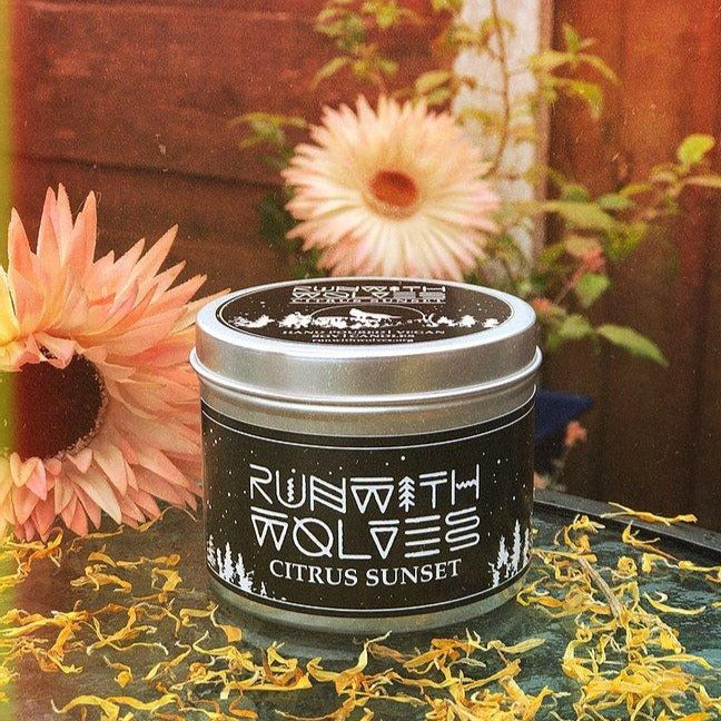 Citrus Sunset Soy Wax Candle - Run With Wolves - 250ml