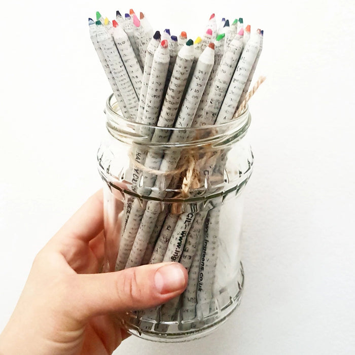 Recycled Newspaper Colouring Pencils x 10