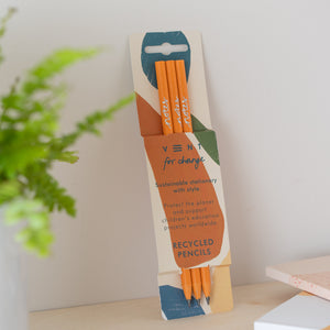 vent for change recycled orange pencils earth notes