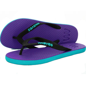 Plastic free flip flops waves purple blue ladies rubber