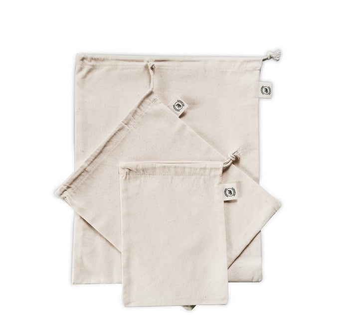 Organic Cotton Cloth Produce Bags - 3 Pack
