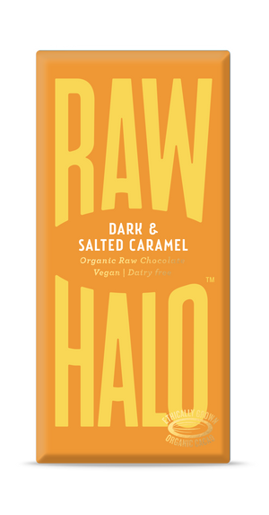 Raw Halo Organic Vegan Chocolate Dark & Salted Caramel 70g