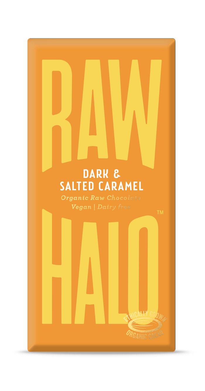 Raw Halo Organic Vegan Chocolate - Dark & Salted Caramel - 70g