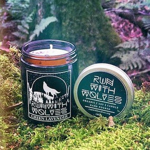 Green Lavender Candle Run With Wolves 180ml