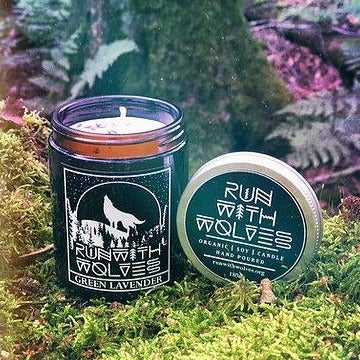 Green Lavender Soy Wax Candle - Run With Wolves -180ml
