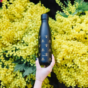All Black Bee Insulated Bottle Qwetch
