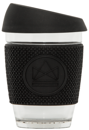 Reusable Glass Cup Black Neon Kactus