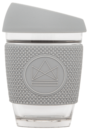 Reusable Glass Cup Grey Neon Kactus