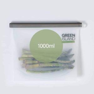 Silicone ziplock pouches 1000ml green island