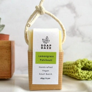 Saop Daze soap on a rope lemongrass patchouli