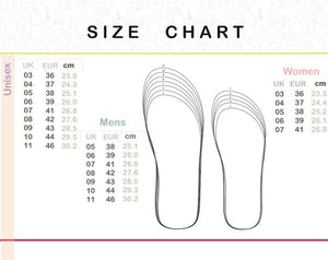 Waves size chart flip flops natural rubber plastic free