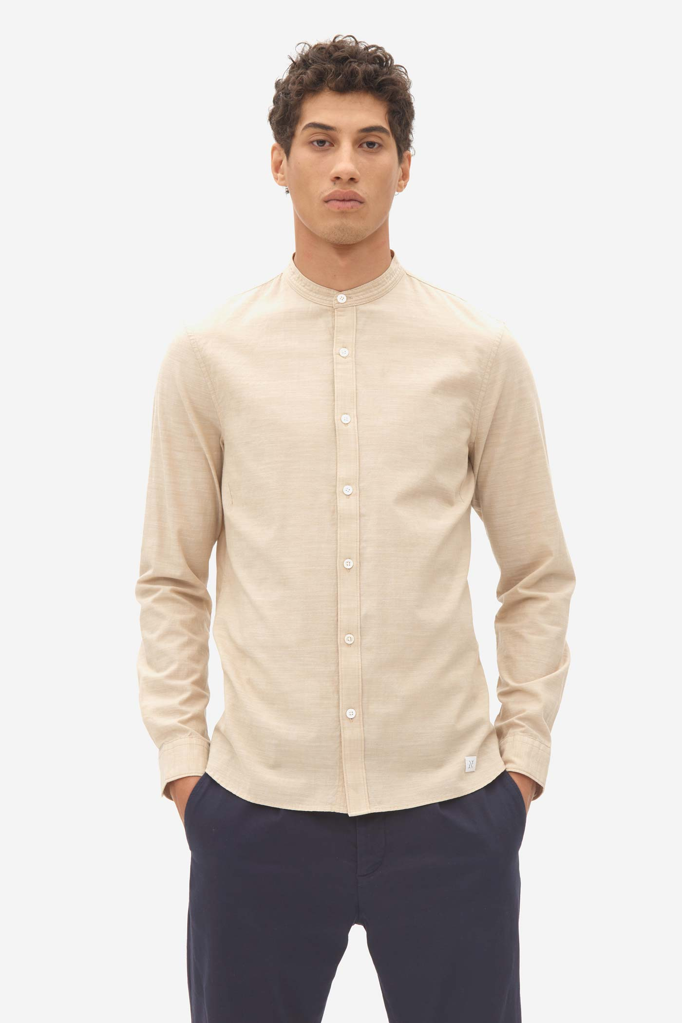 Chambray Granddad Shirt irish cream