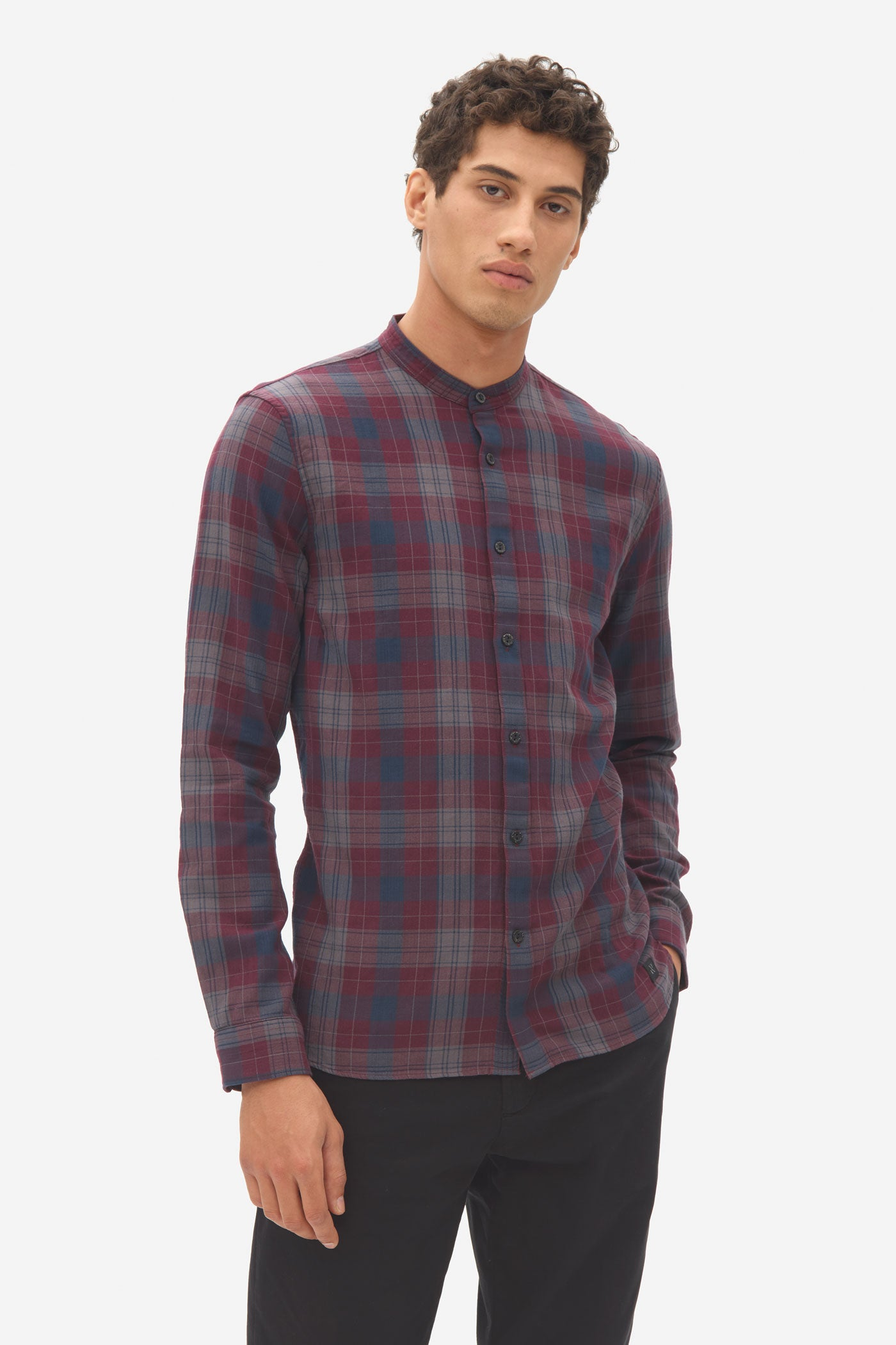 Herringbone Check Grandad Shirt dark bordeaux