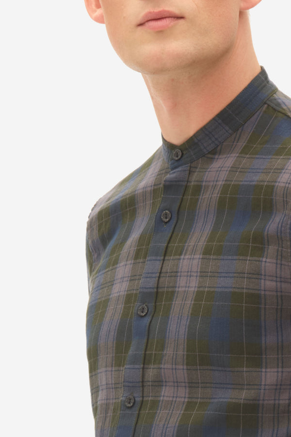 Herringbone Check Grandad Shirt rosin