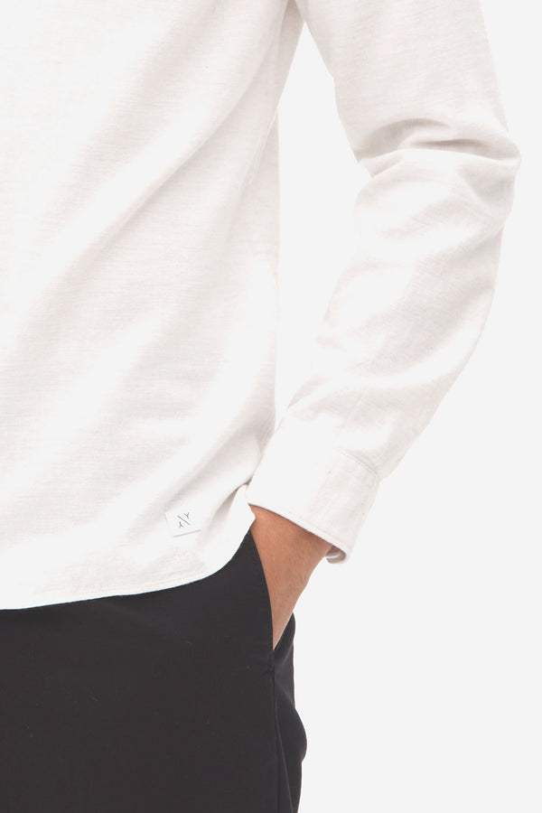 Brushed Twill Grandad Shirt bright white