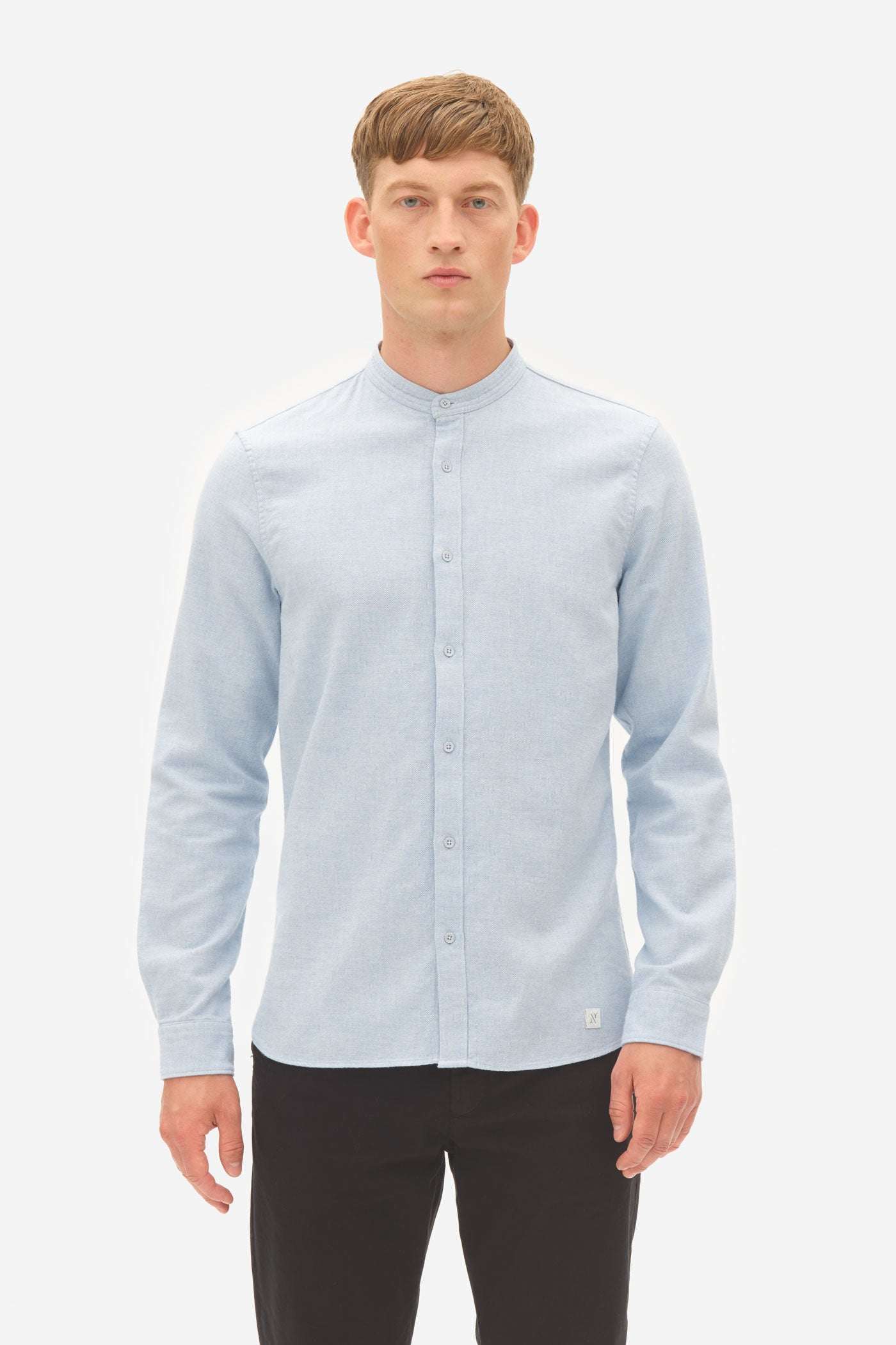 Brushed Twill Grandad Shirt blue