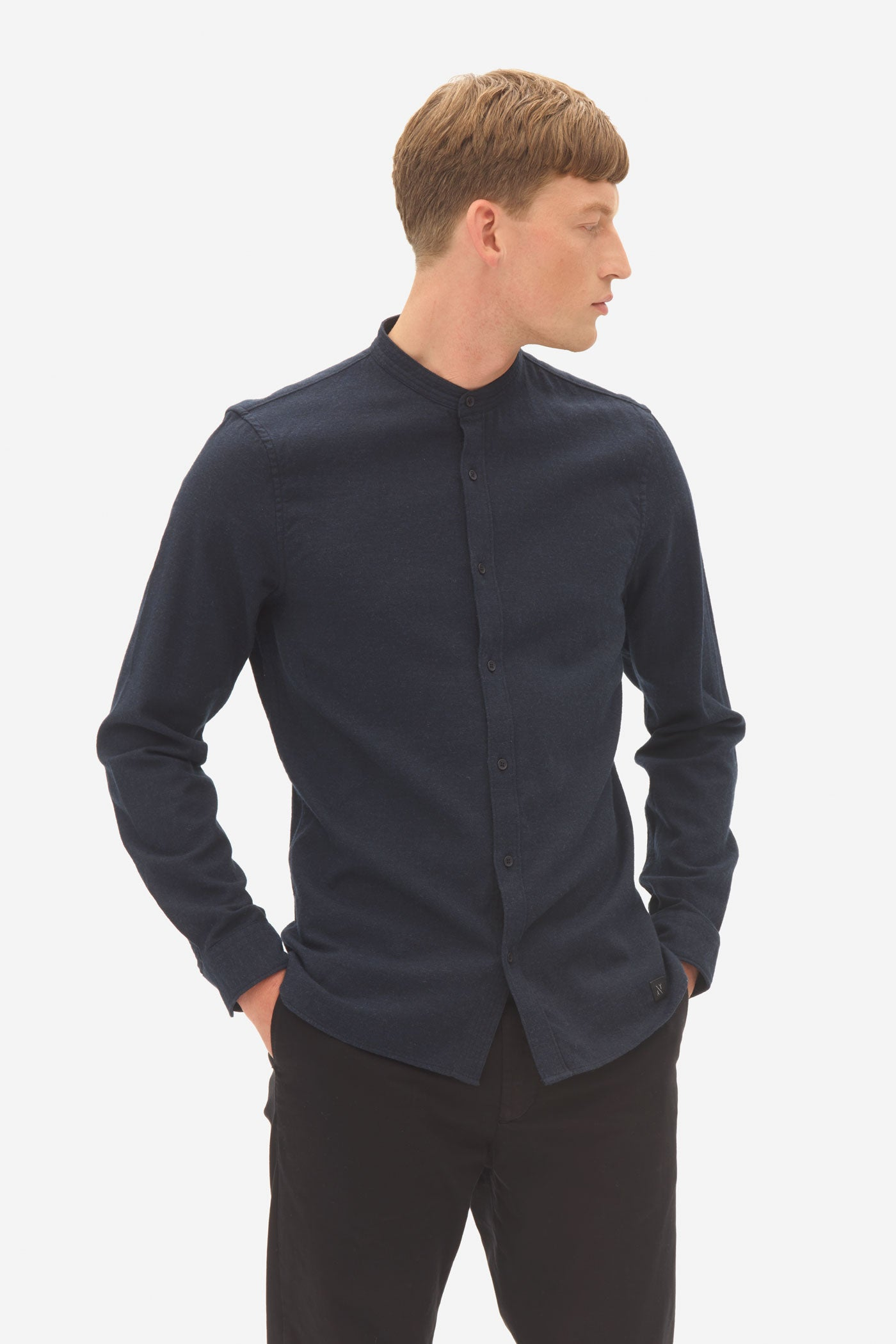Brushed Twill Grandad Shirt sky captain