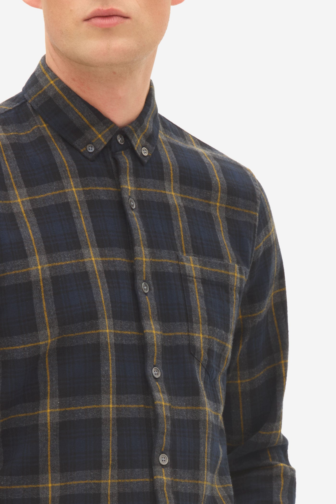 Brushed Check Button Down Shirt sky captain