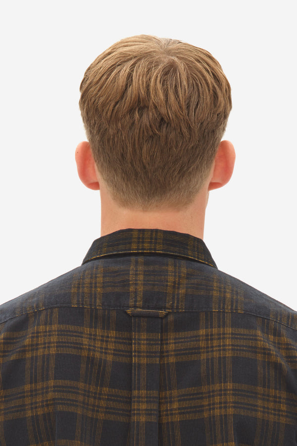 Corduroy Check Kent Shirt chai tea