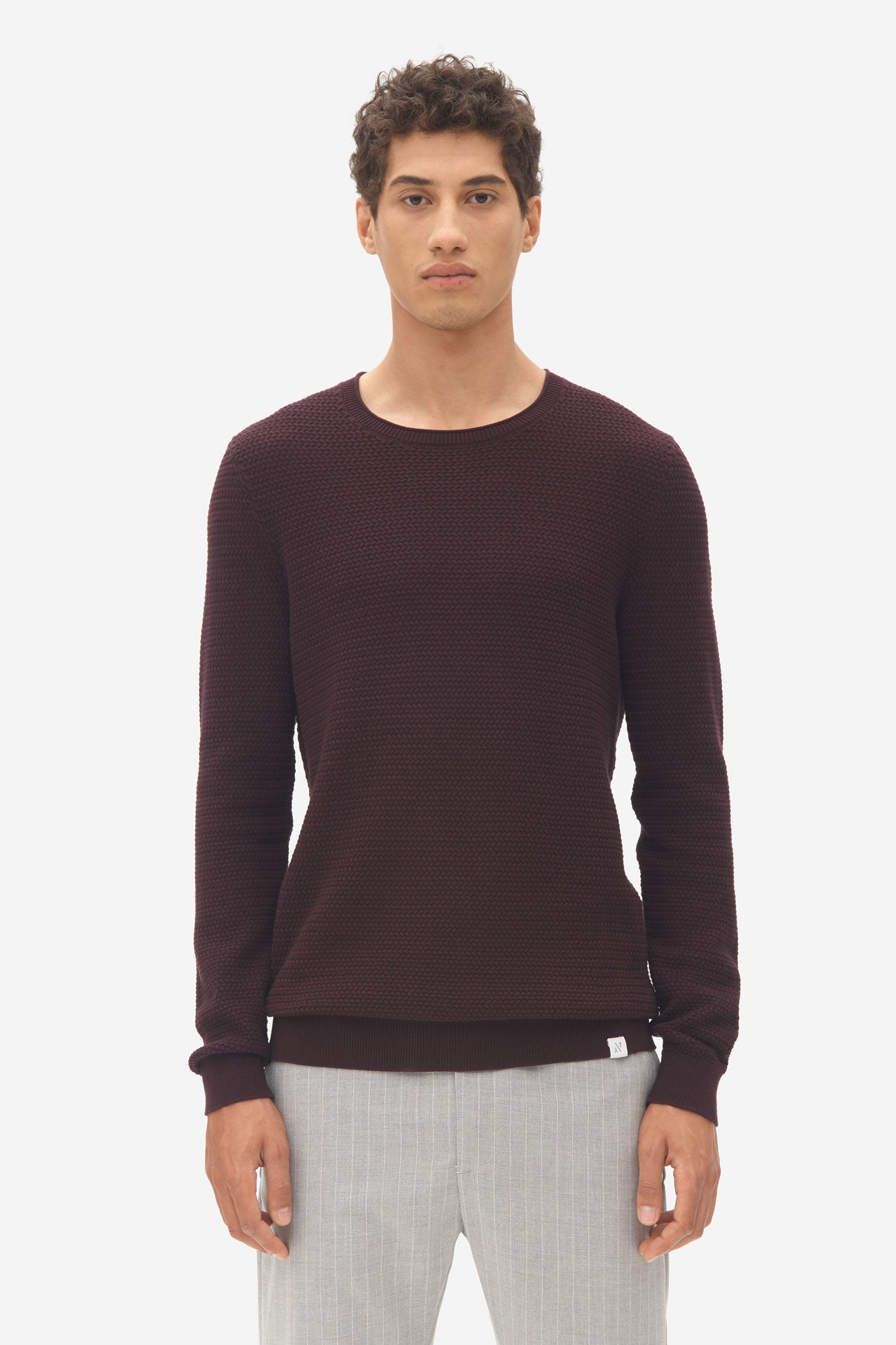 Basket Stitch Sweater dark bordeaux