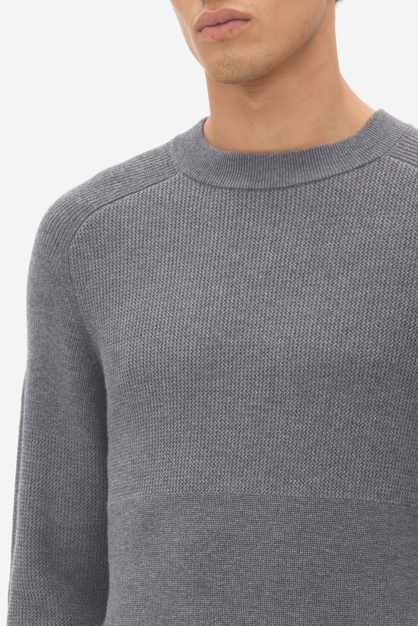 Multi Structure Sweater grey melange