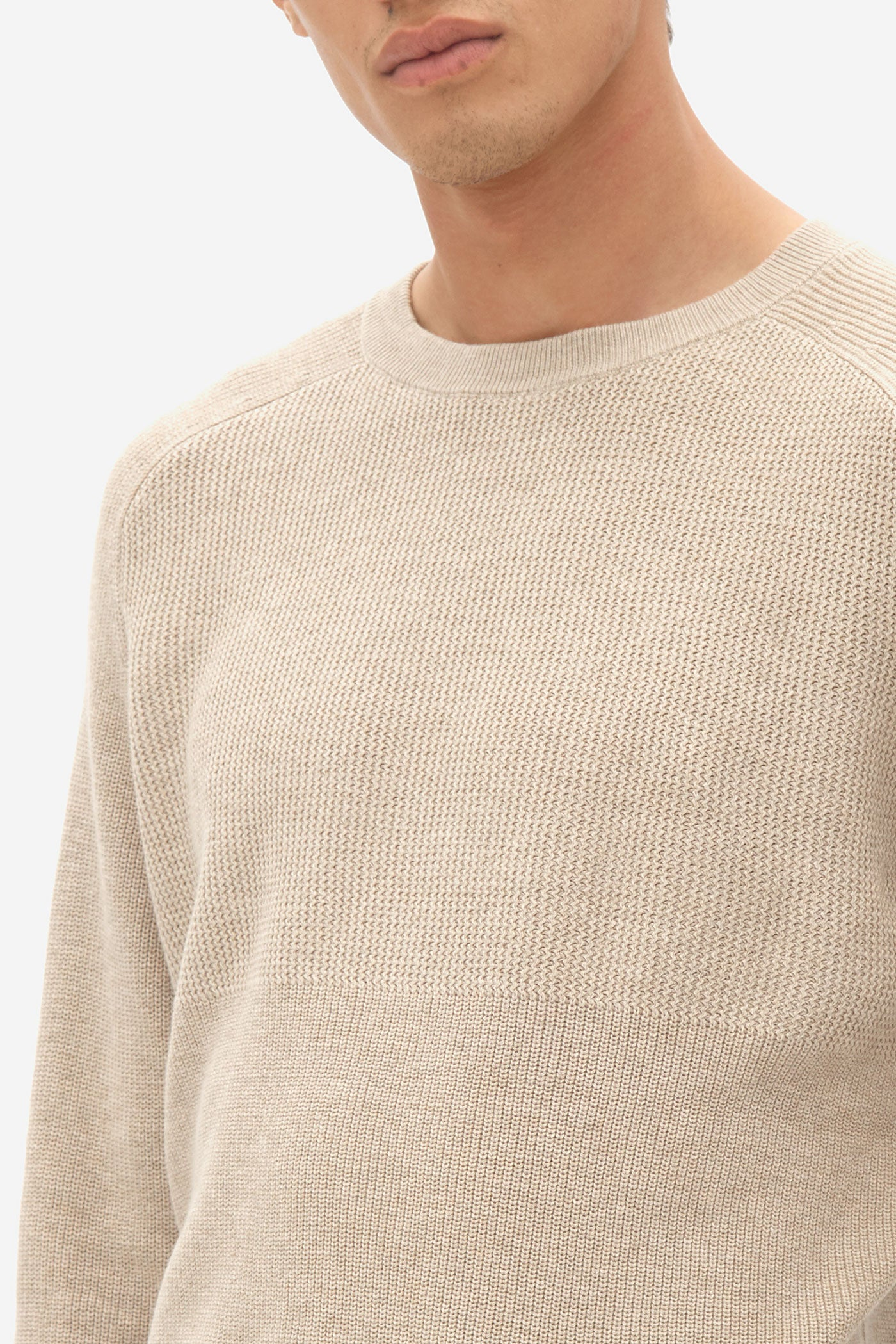 NOS022 multi structure sweater brown rice