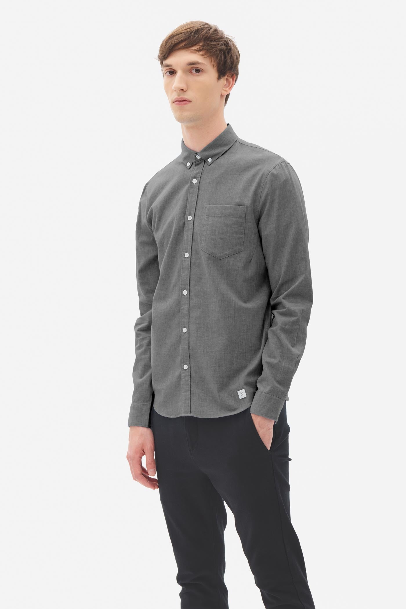 Brushed Melange Button Down Shirt anthra