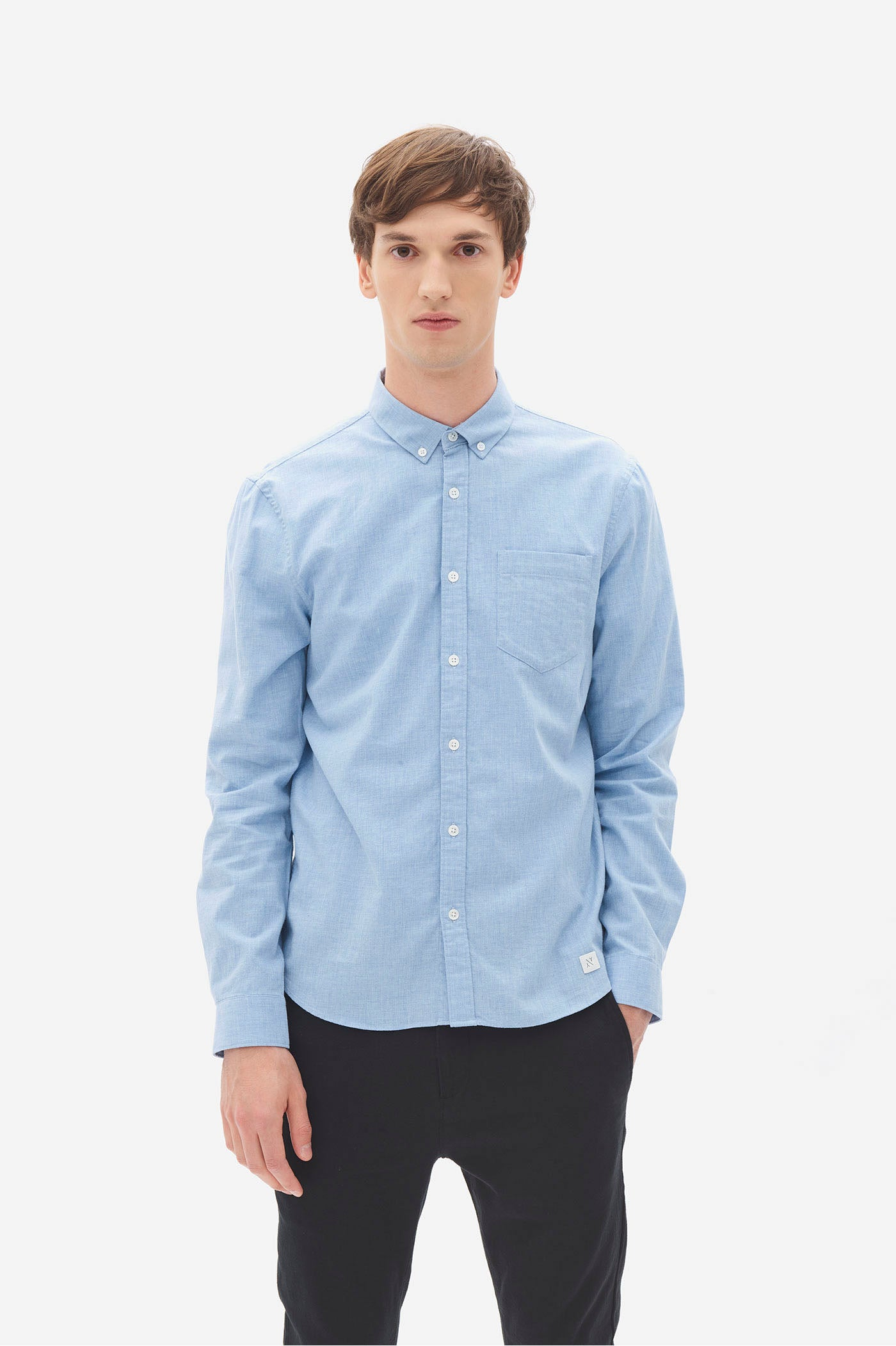 Brushed Melange Button Down Shirt blue