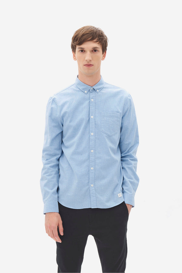 Brushed Melange Button Down Shirt