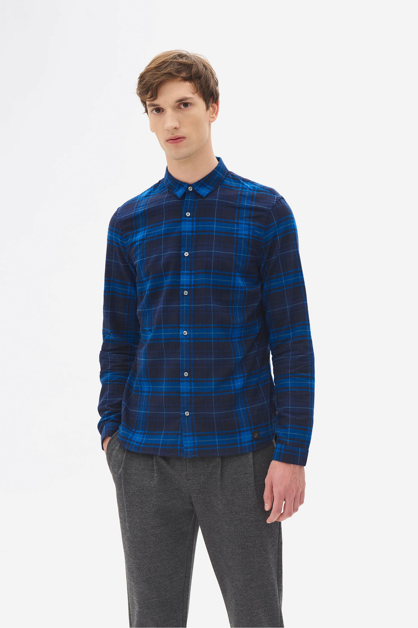 Herringbone Check Shirt night sky