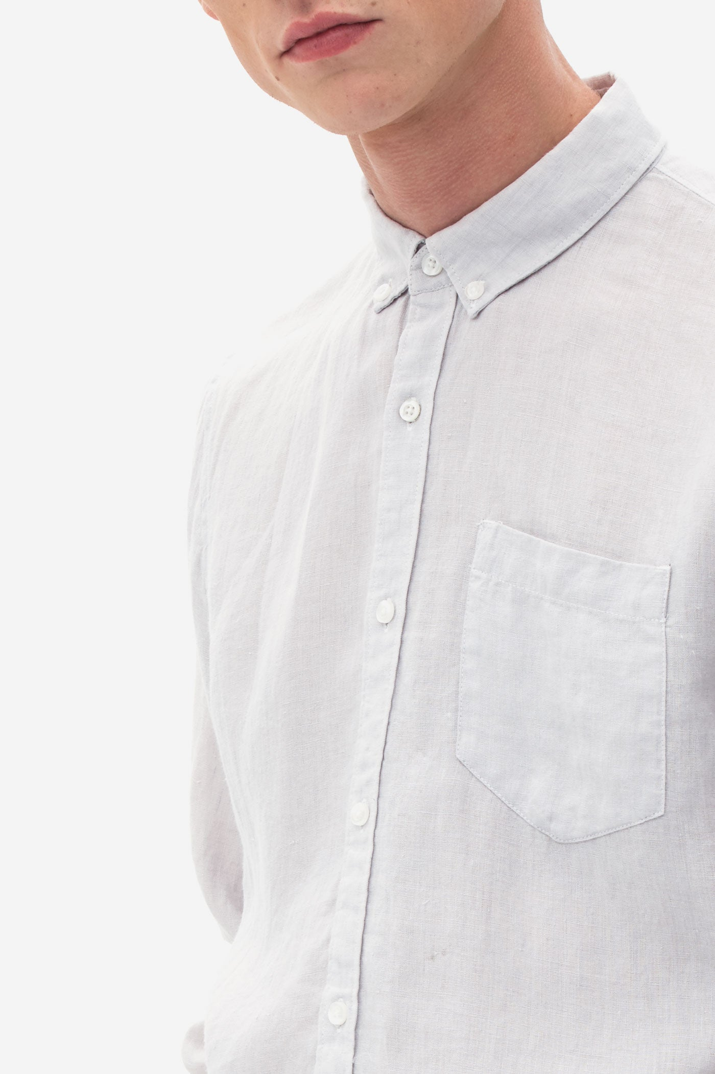 Button Down Linen Shirt very light grey