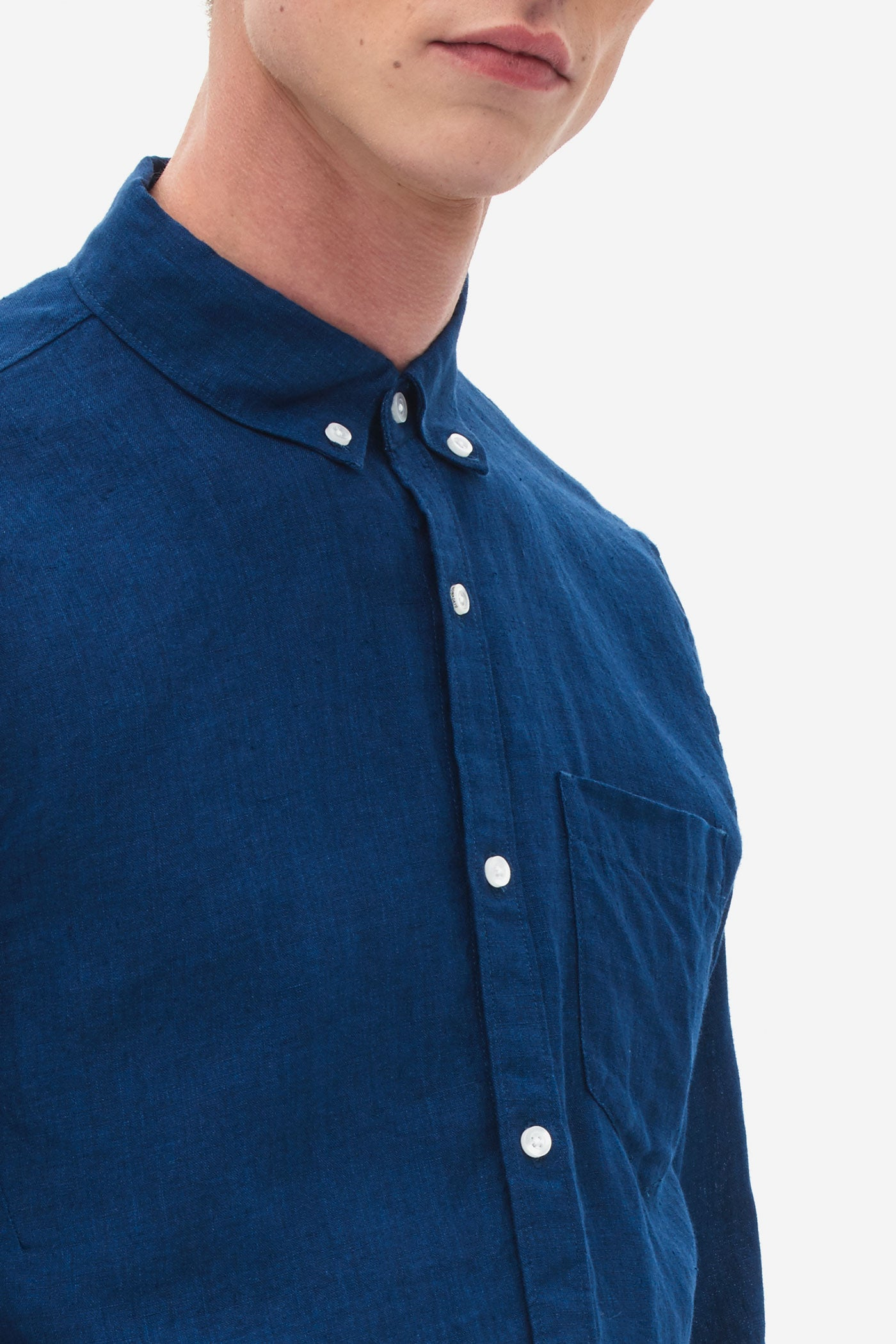 Button Down Linen Shirt medival blue