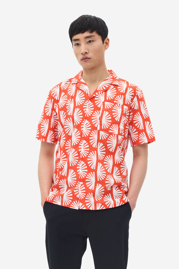 Camp Collar Sun Print Shirt grenadine