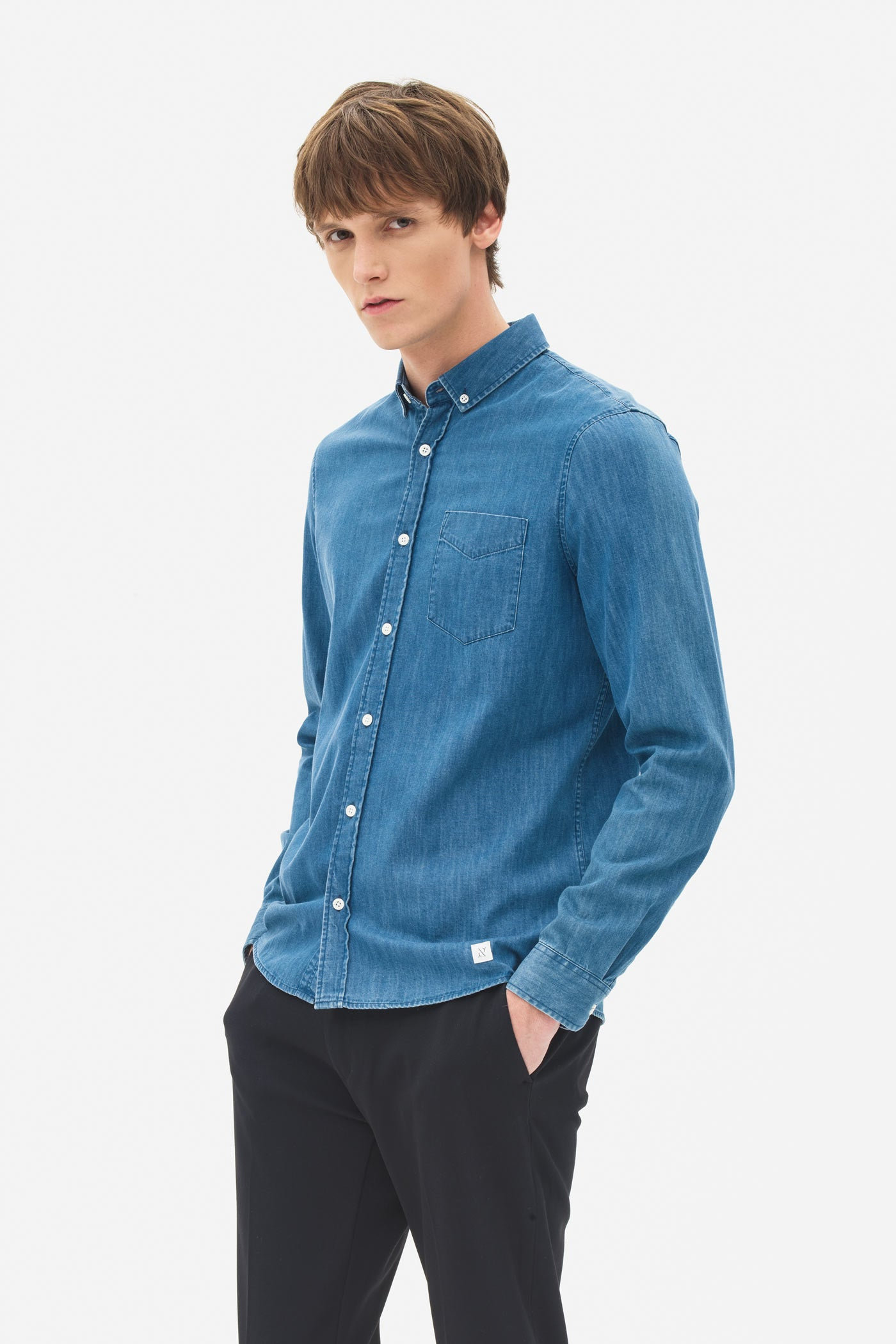 Button Down Denim Shirt poseidon blue