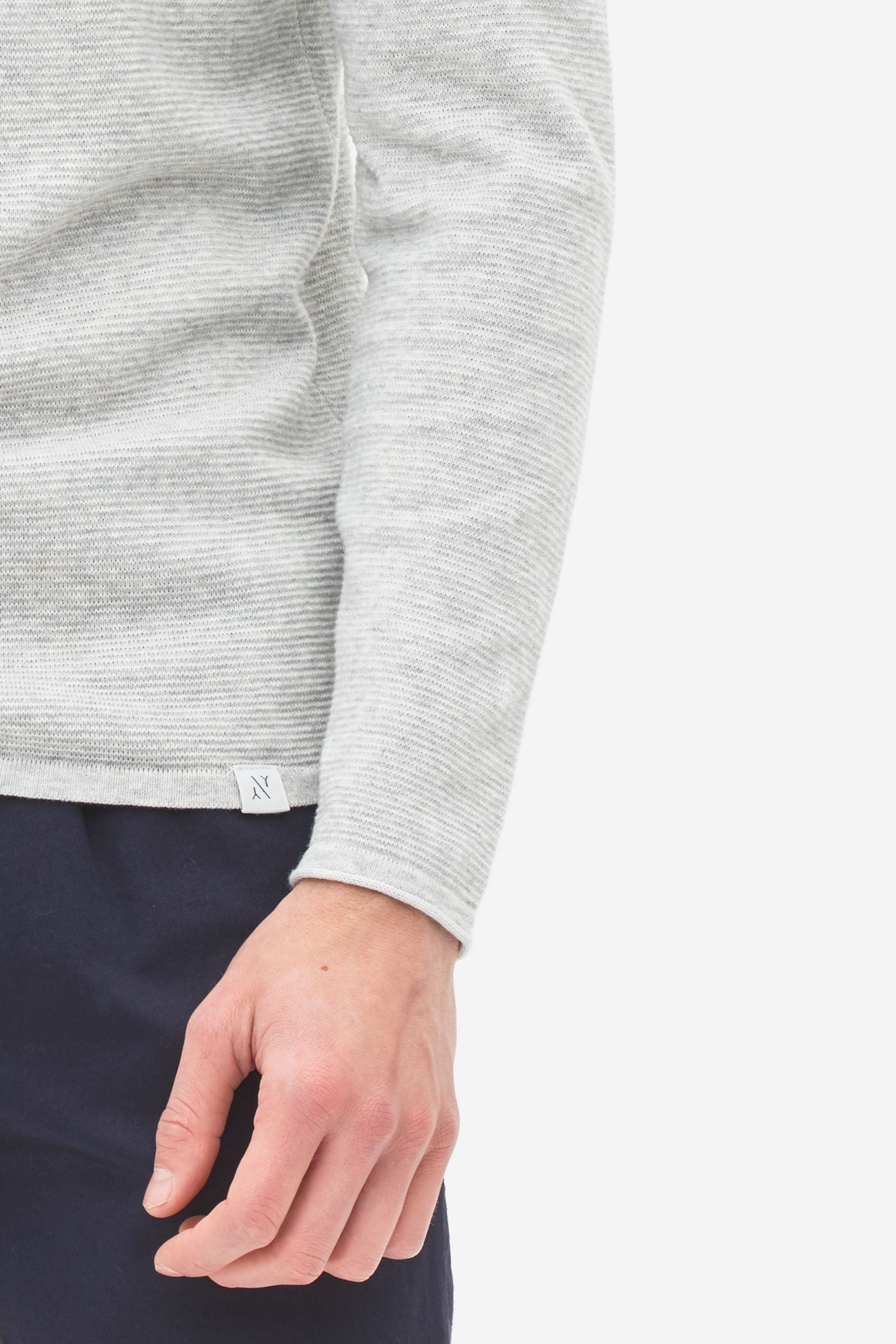 Plated Henley Sweater light grey