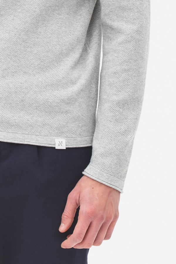 Knited Polo Longsleeve light grey