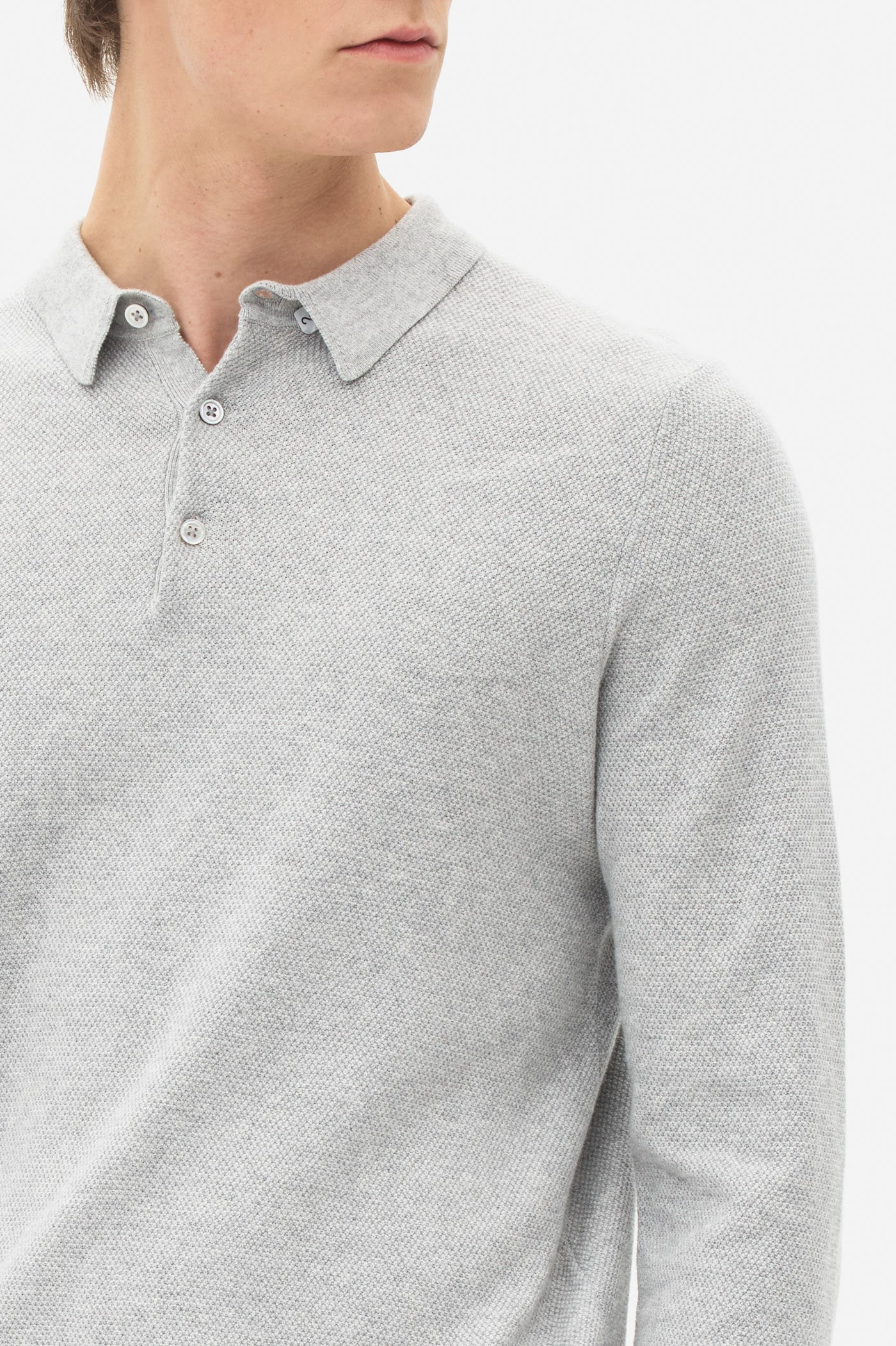Knitted Polo Longsleeve light grey