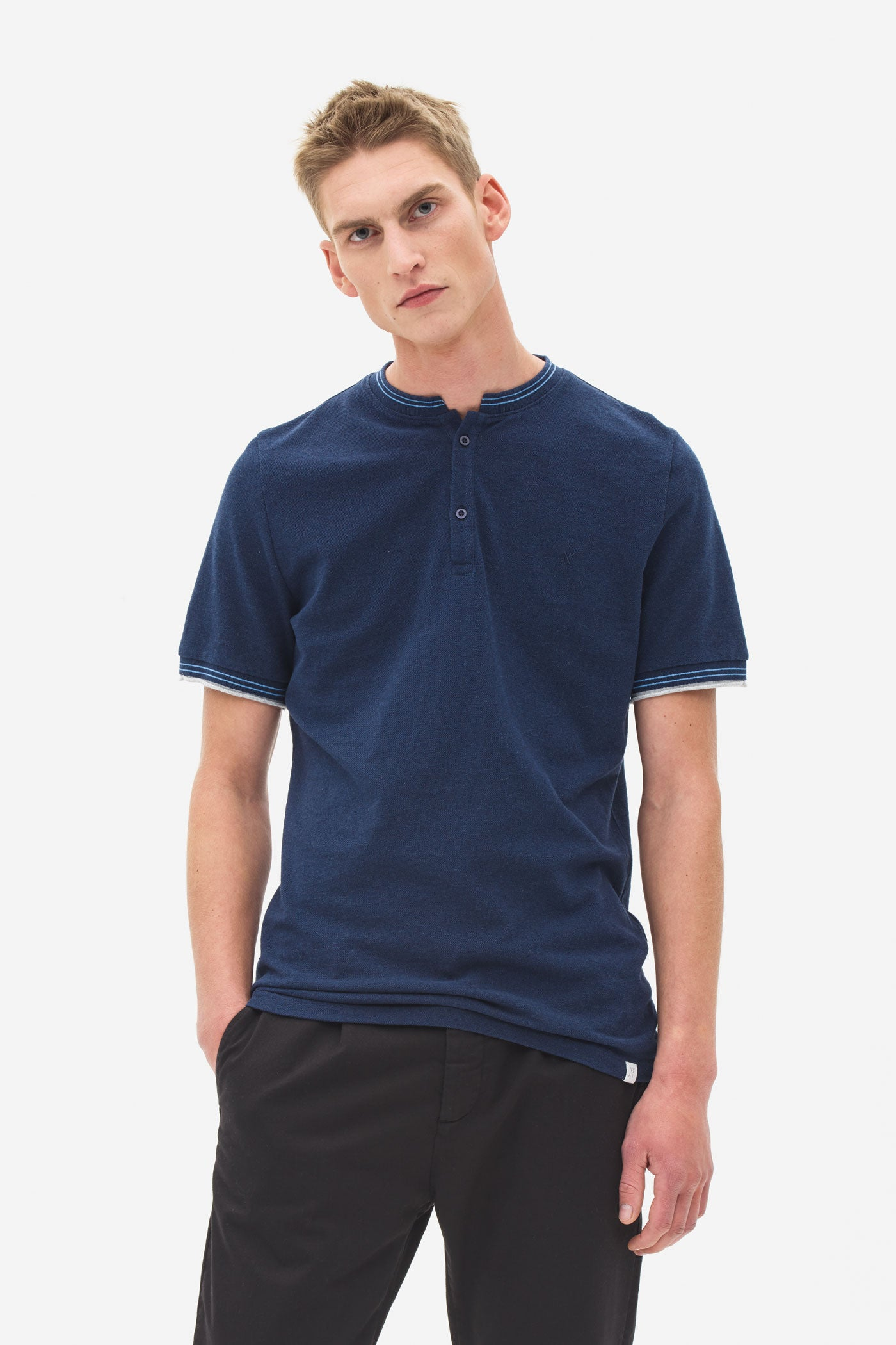 Stand up Collar Pique Polo night sky
