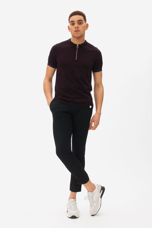 Zip Polo dark bordeaux