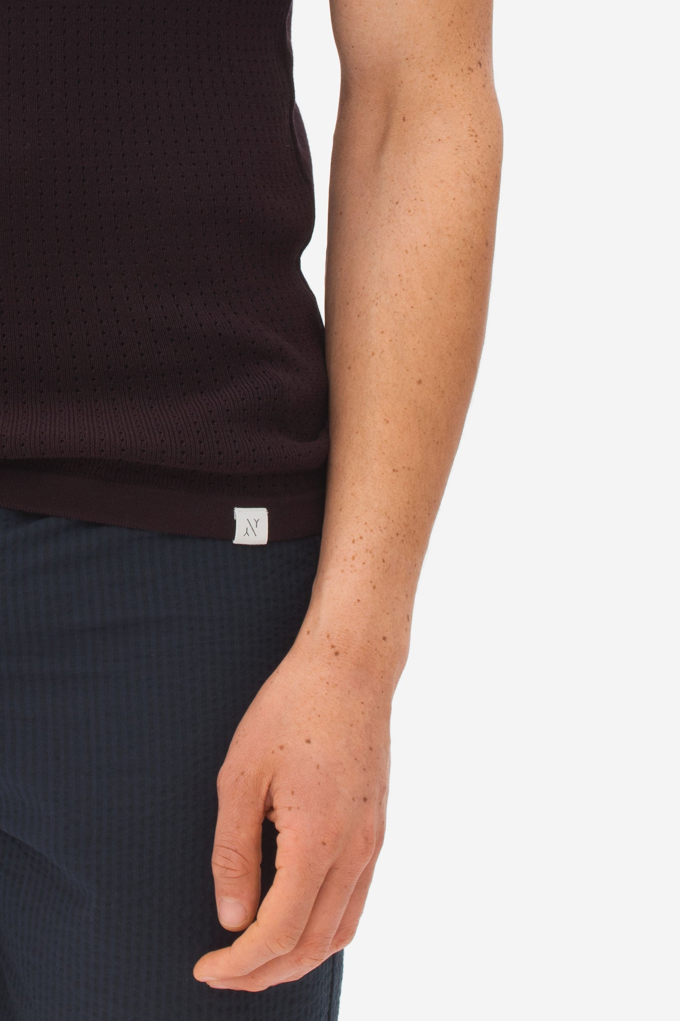 Knitted High Neck Zip Polo dark bordeaux