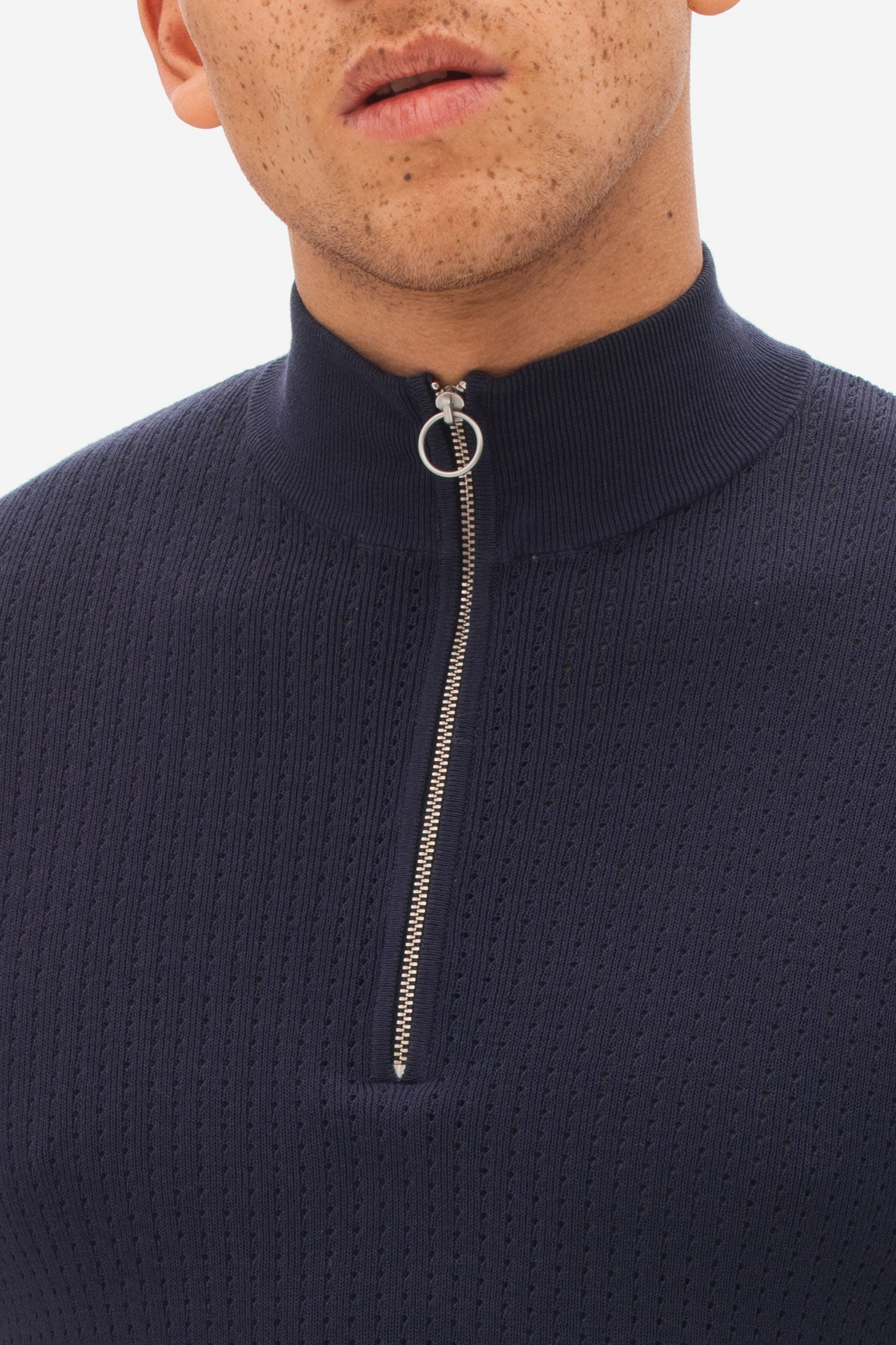 Knitted High Neck Zip Polo eclipse