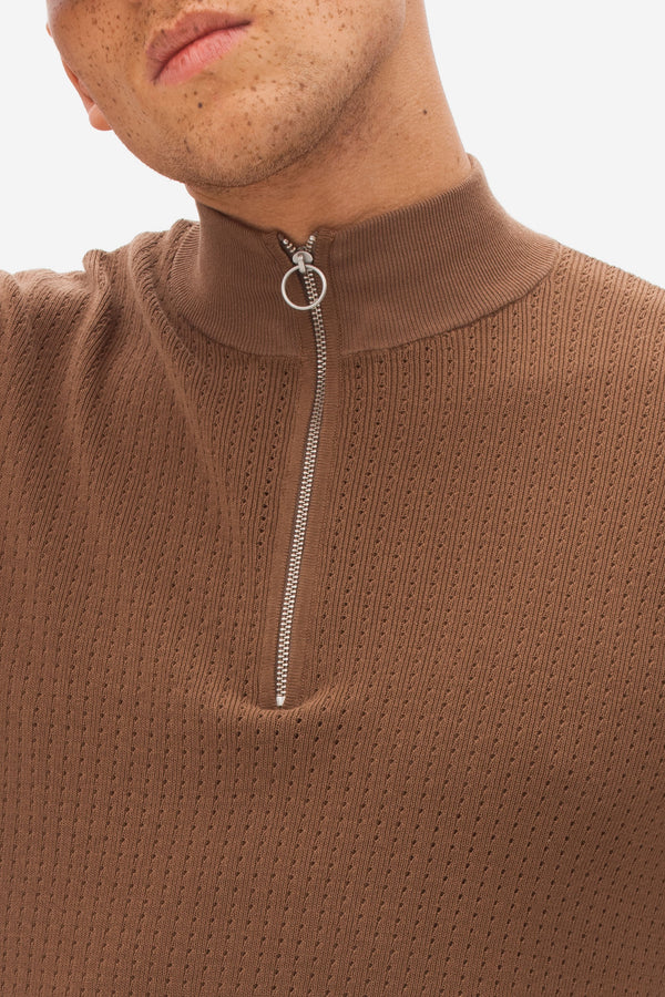 Knitted High Neck Zip Polo light chocolate