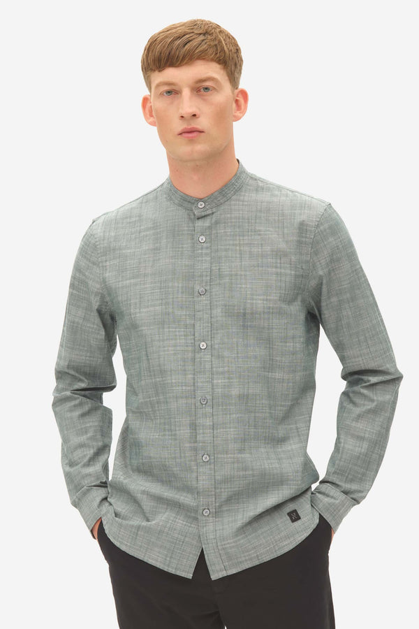NOS027 grandad chambray shirt green gables